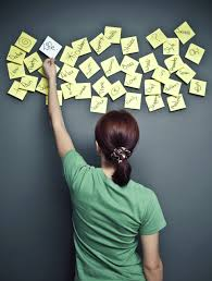 Girl with Post-It notes